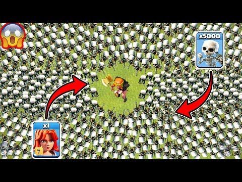 1 Valkyrie vs 5000 Skeletons Clash of Clans
