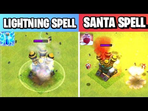 Santa Spell Vs Lightning Spell | Spell Comparison | Clash of clans Winter Update